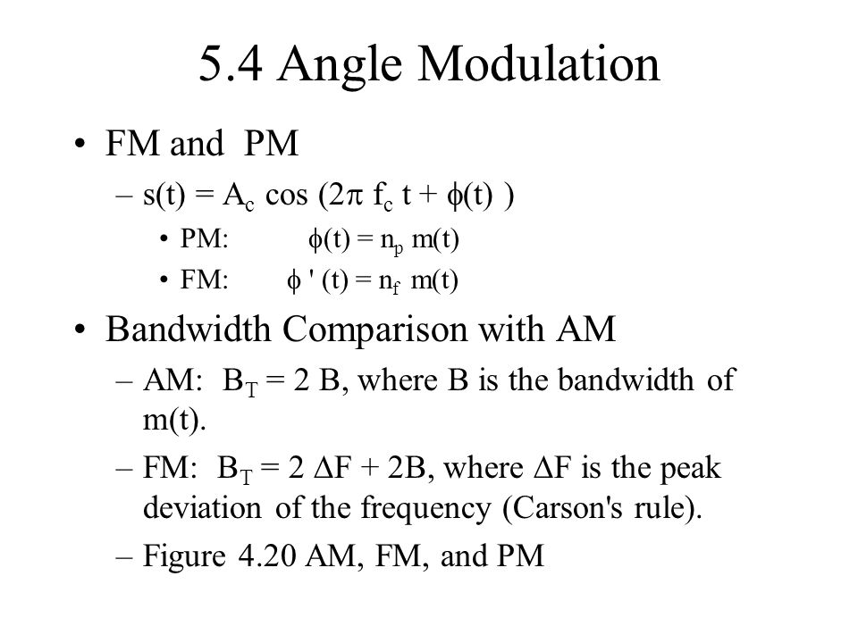 5.4 Angle Modulation FM and PM Bandwidth Comparison with AM