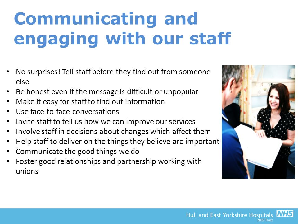 Communicating and engaging with our staff