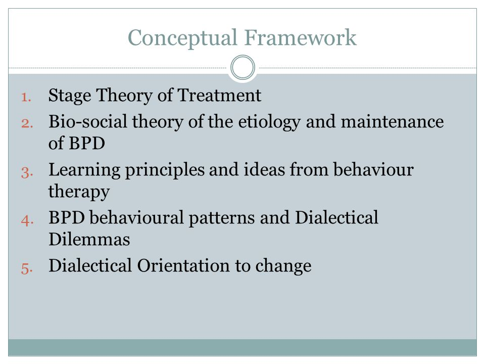 Conceptual Framework Stage Theory of Treatment