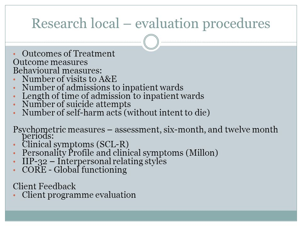 Research local – evaluation procedures