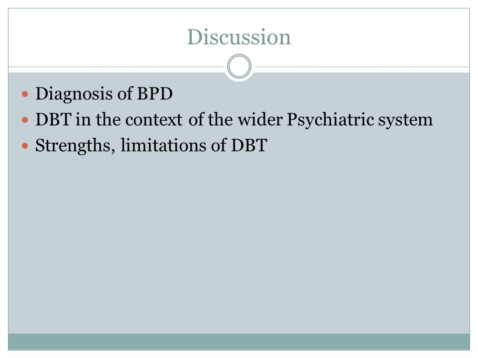 Discussion Diagnosis of BPD