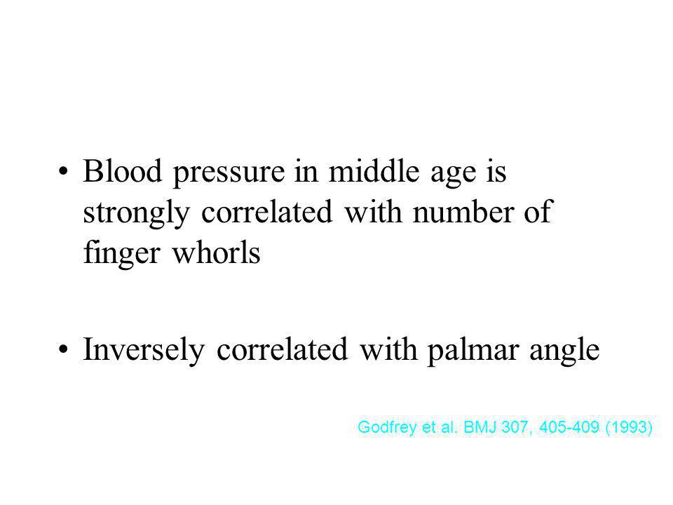 Fingerprint Summary Blood pressure in middle age is strongly correlated with number of finger whorls.