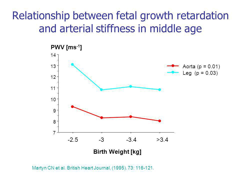 Relationship between fetal growth retardation and arterial stiffness in middle age