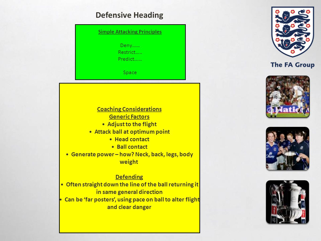 Defensive Heading Coaching Considerations Generic Factors
