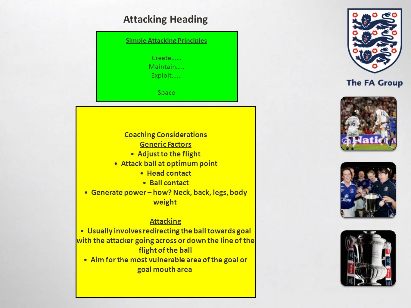 Attacking Heading Coaching Considerations Generic Factors