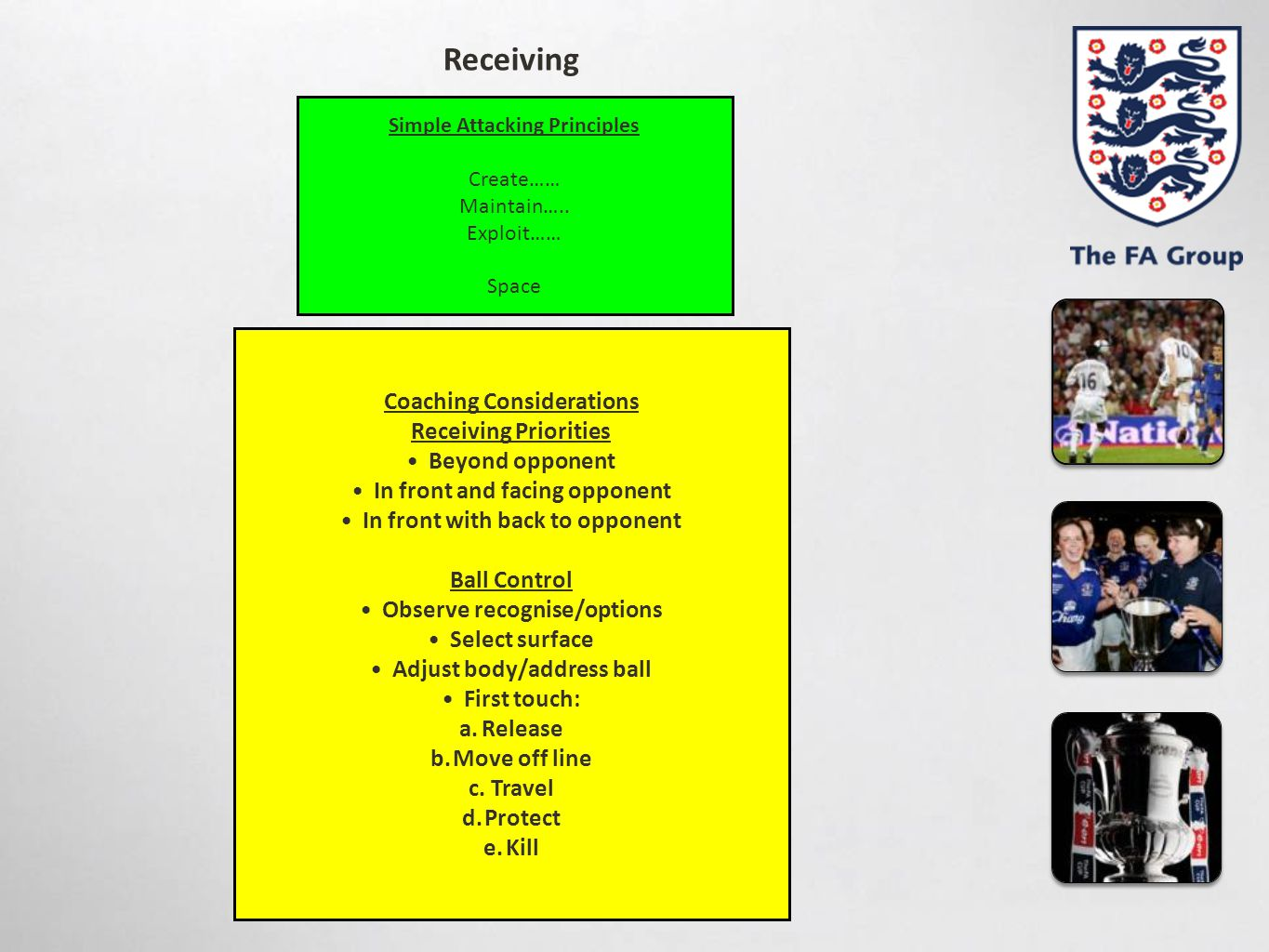 Receiving Coaching Considerations Receiving Priorities Beyond opponent