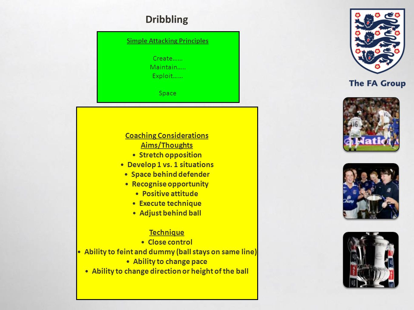 Dribbling Coaching Considerations Aims/Thoughts Stretch opposition
