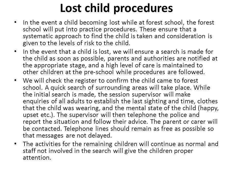 Lost child procedures