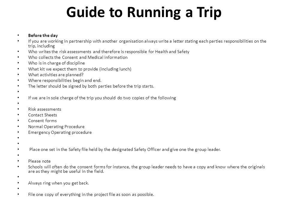 Guide to Running a Trip Before the day