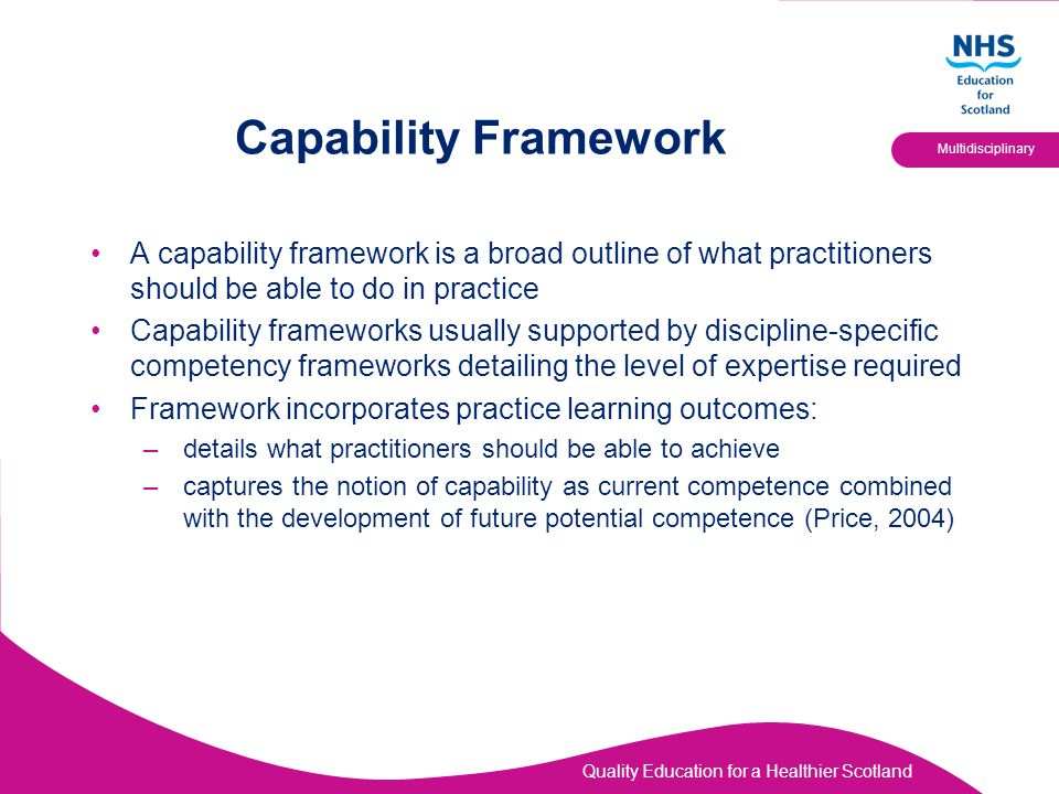 Capability Framework A capability framework is a broad outline of what practitioners should be able to do in practice.