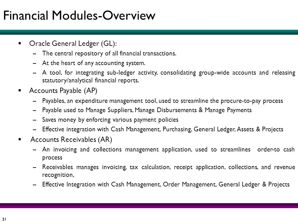 Financial Modules-Overview