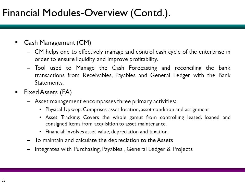 Financial Modules-Overview (Contd.).