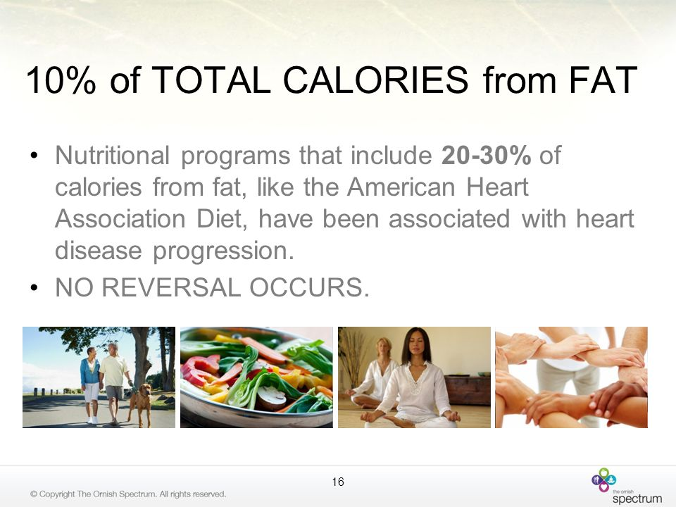 10% of TOTAL CALORIES from FAT