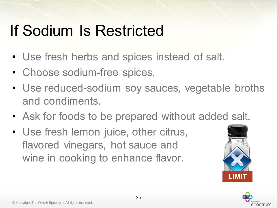 If Sodium Is Restricted