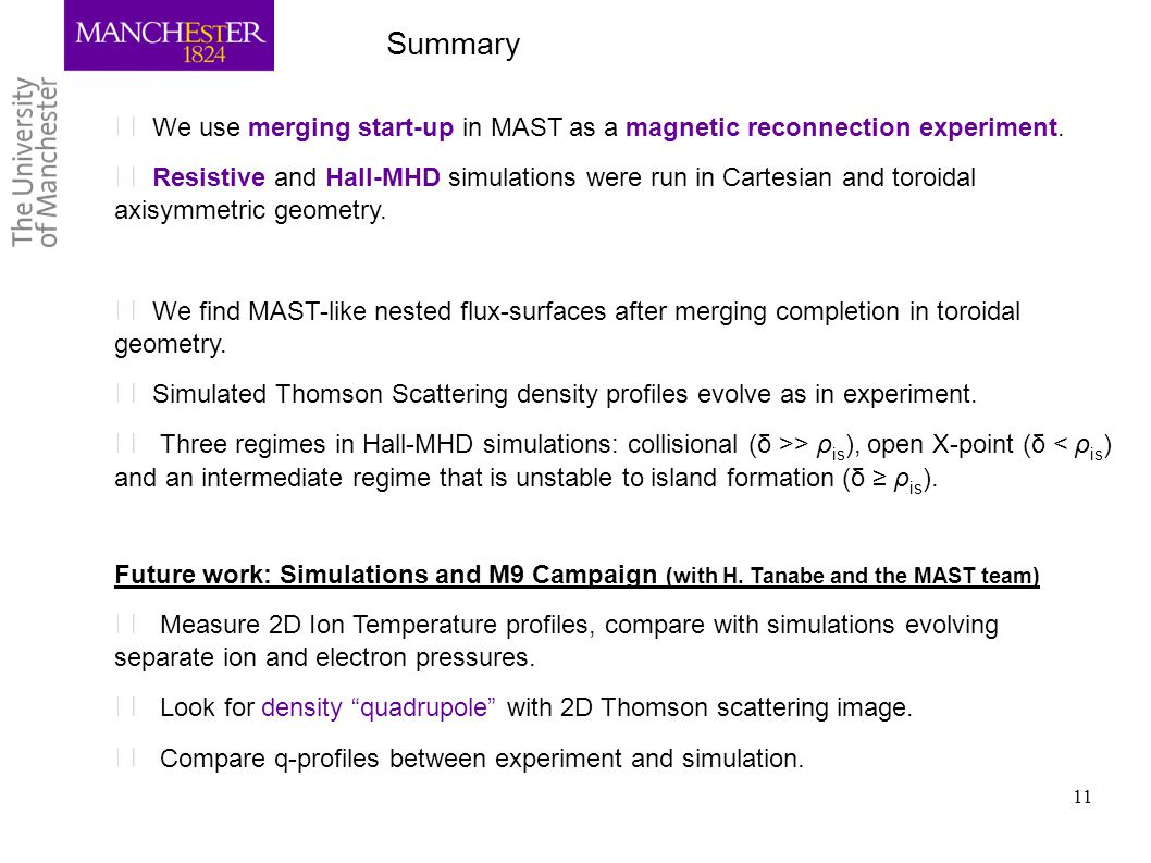 Summary We use merging start-up in MAST as a magnetic reconnection experiment.