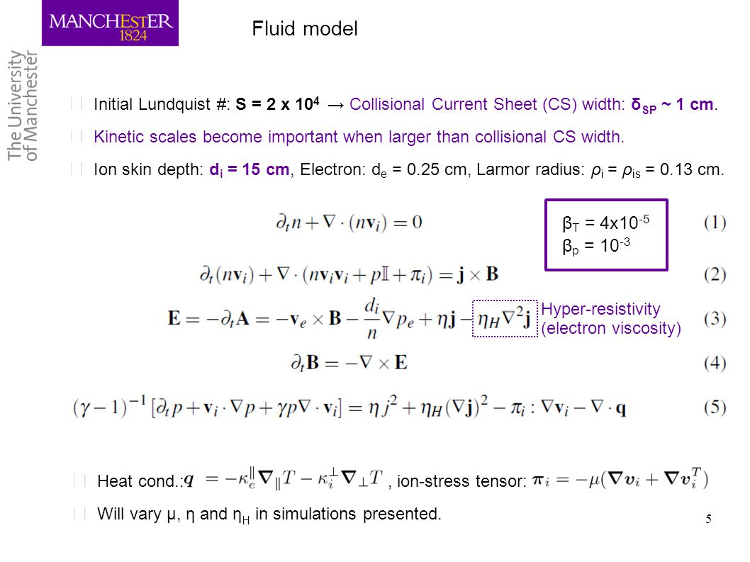 Fluid model Initial Lundquist #: S = 2 x 104 → Collisional Current Sheet (CS) width: δSP ~ 1 cm.
