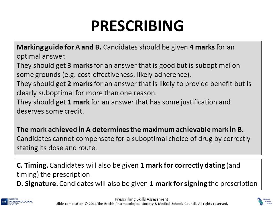 PRESCRIBING Marking guide for A and B. Candidates should be given 4 marks for an optimal answer.