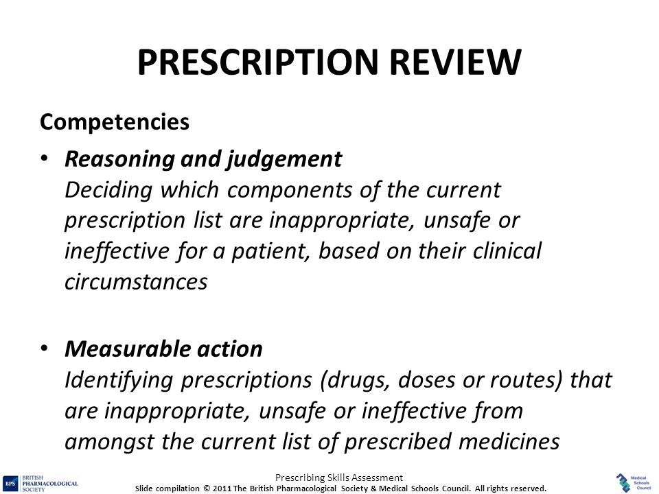 PRESCRIPTION REVIEW Competencies