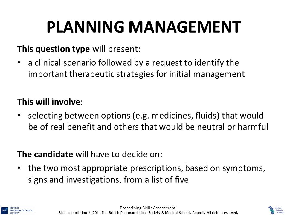 PLANNING MANAGEMENT This question type will present: