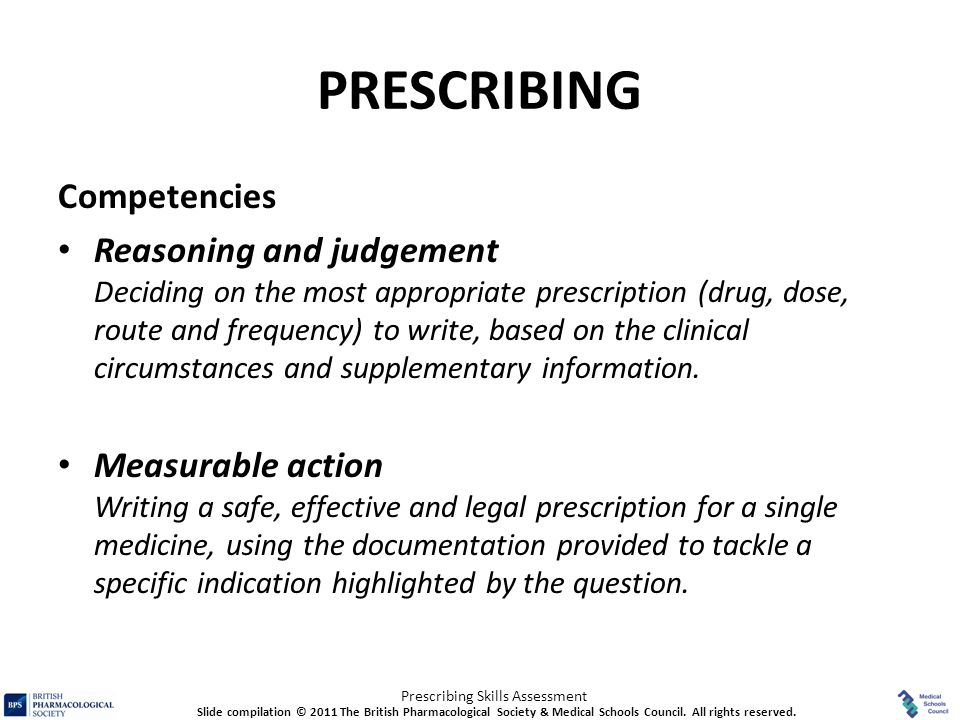 PRESCRIBING Competencies
