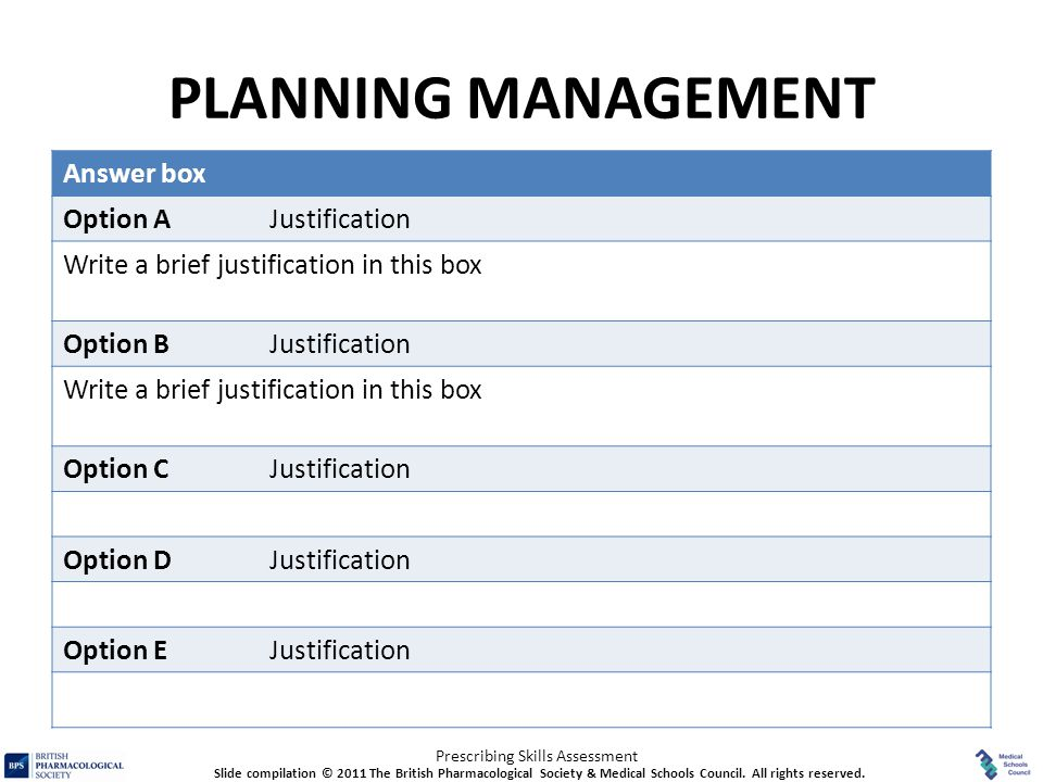 PLANNING MANAGEMENT Answer box Option A Justification