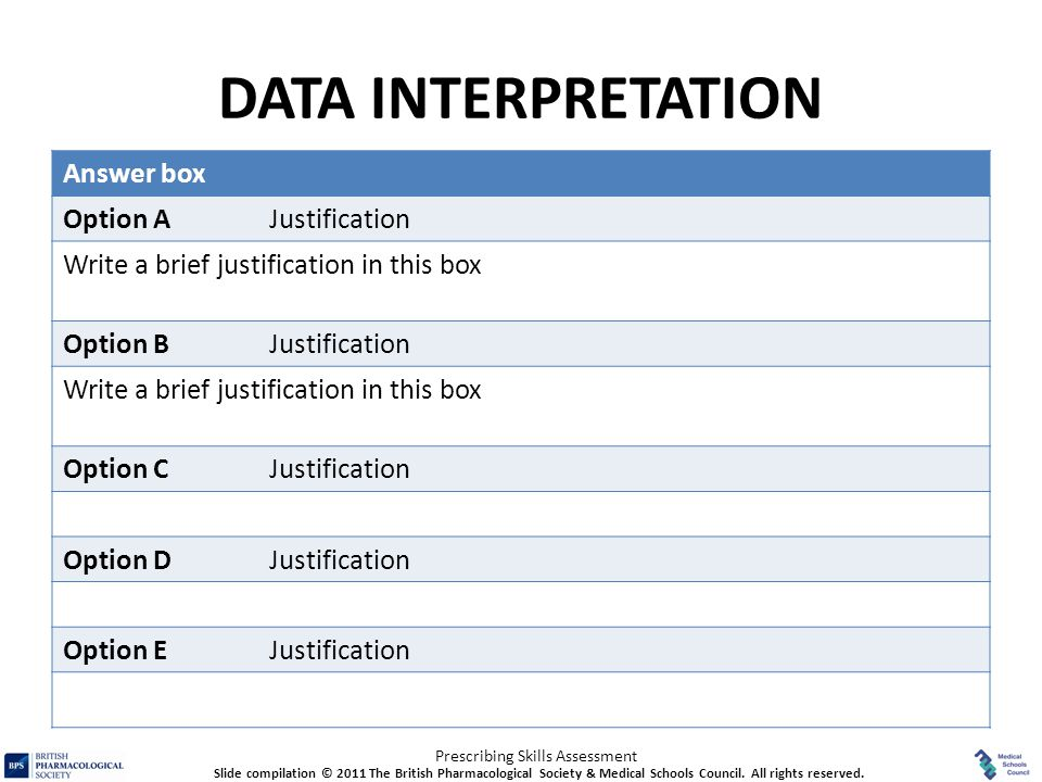 DATA INTERPRETATION Answer box Option A Justification
