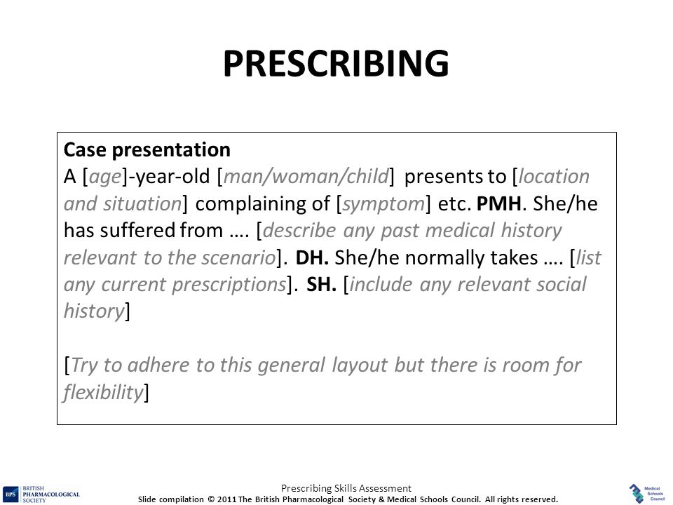 PRESCRIBING Case presentation