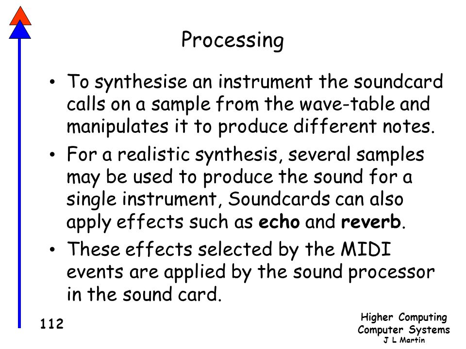 Processing To synthesise an instrument the soundcard calls on a sample from the wave-table and manipulates it to produce different notes.