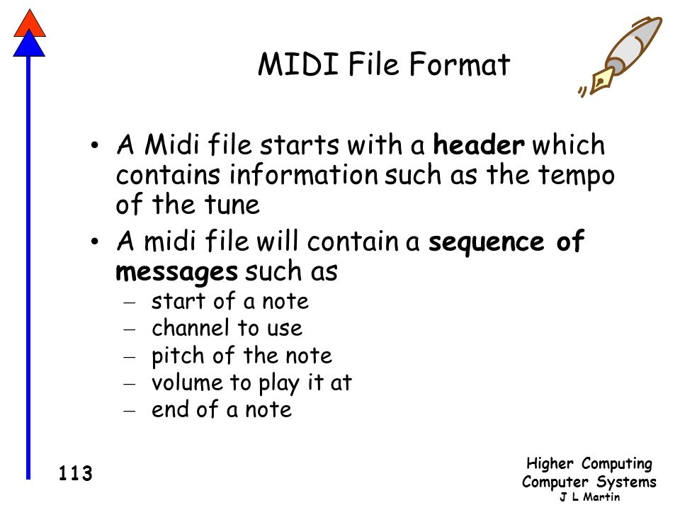 MIDI File Format A Midi file starts with a header which contains information such as the tempo of the tune.