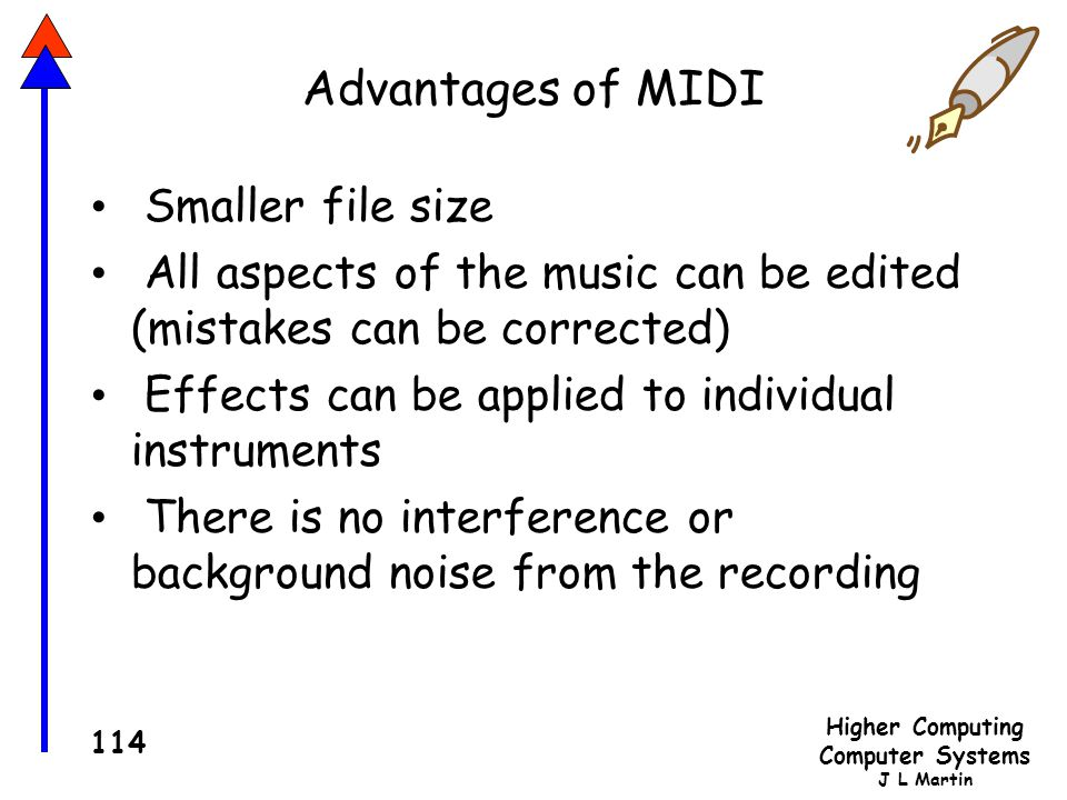 Advantages of MIDI Smaller file size