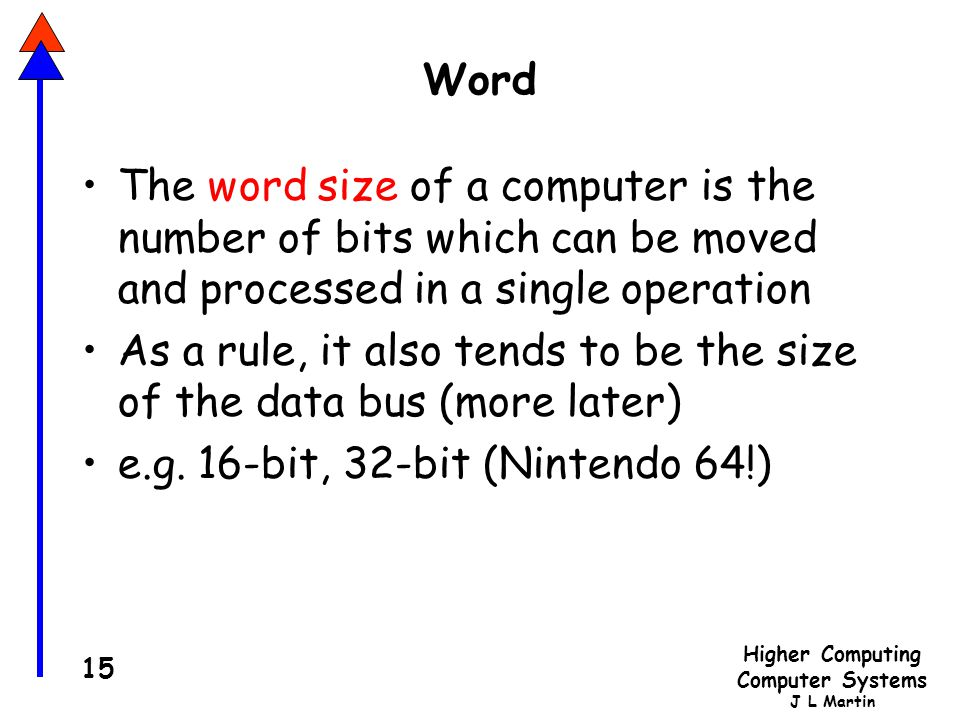 Word The word size of a computer is the number of bits which can be moved and processed in a single operation.