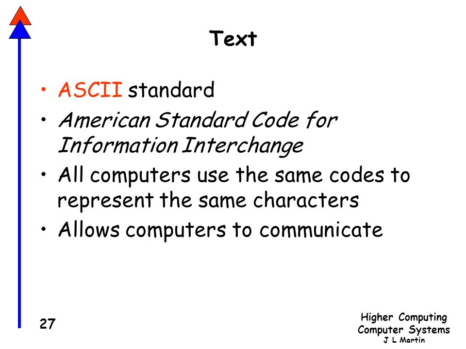 Text ASCII standard. American Standard Code for Information Interchange. All computers use the same codes to represent the same characters.