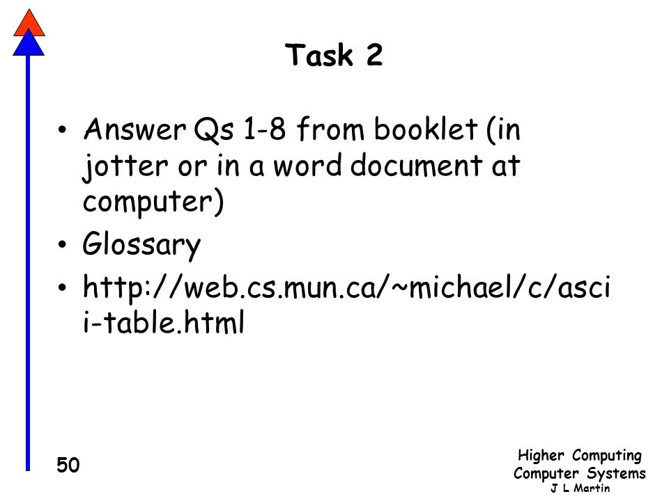 Task 2 Answer Qs 1-8 from booklet (in jotter or in a word document at computer) Glossary.