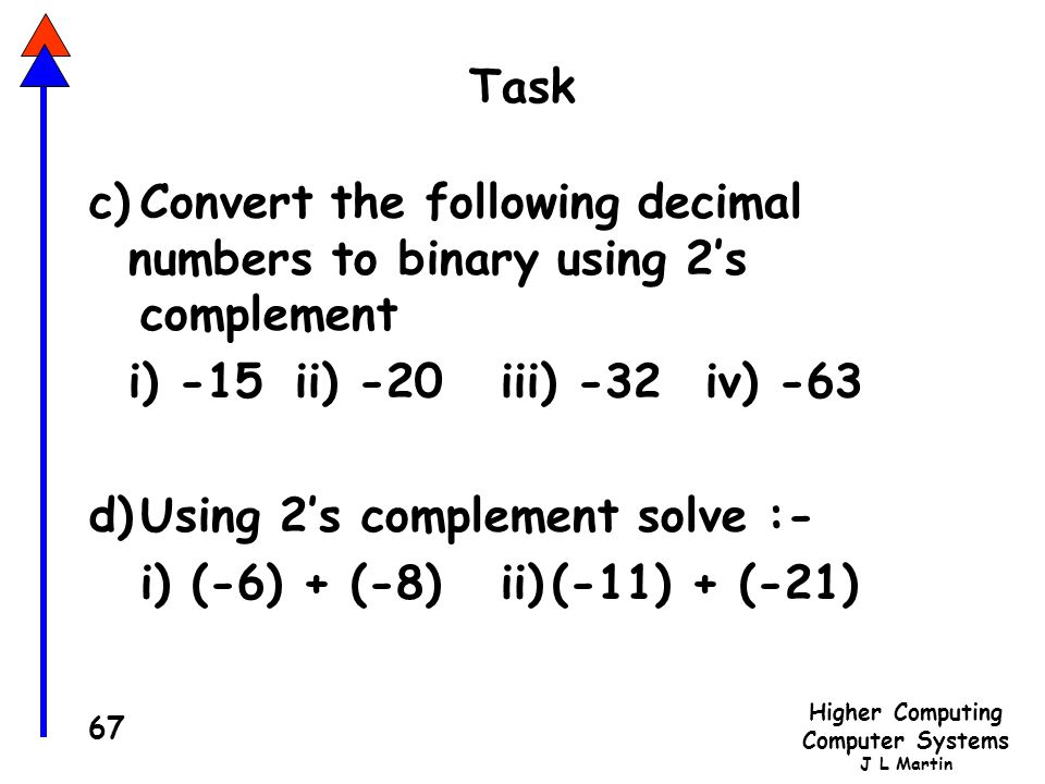 Task c) Convert the following decimal numbers to binary using 2's complement. i) -15 ii) -20 iii) -32 iv) -63.