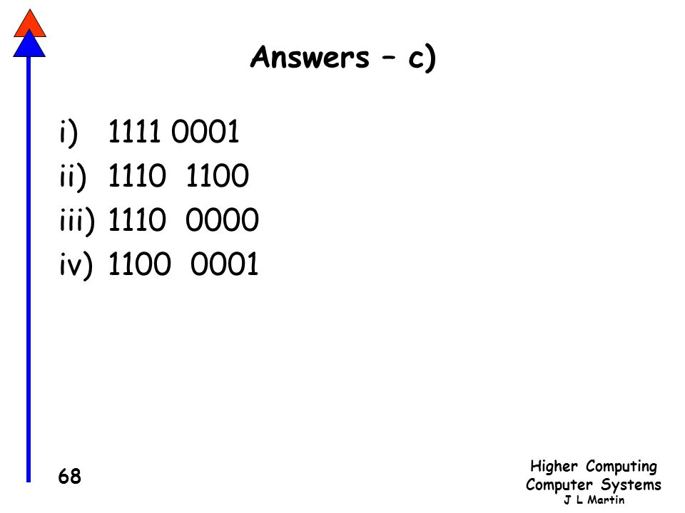 Answers – c) i) 1111 0001 ii) 1110 1100 1110 0000 1100 0001