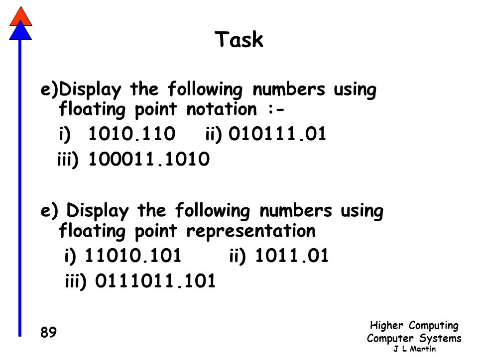 Task e) Display the following numbers using floating point notation :-
