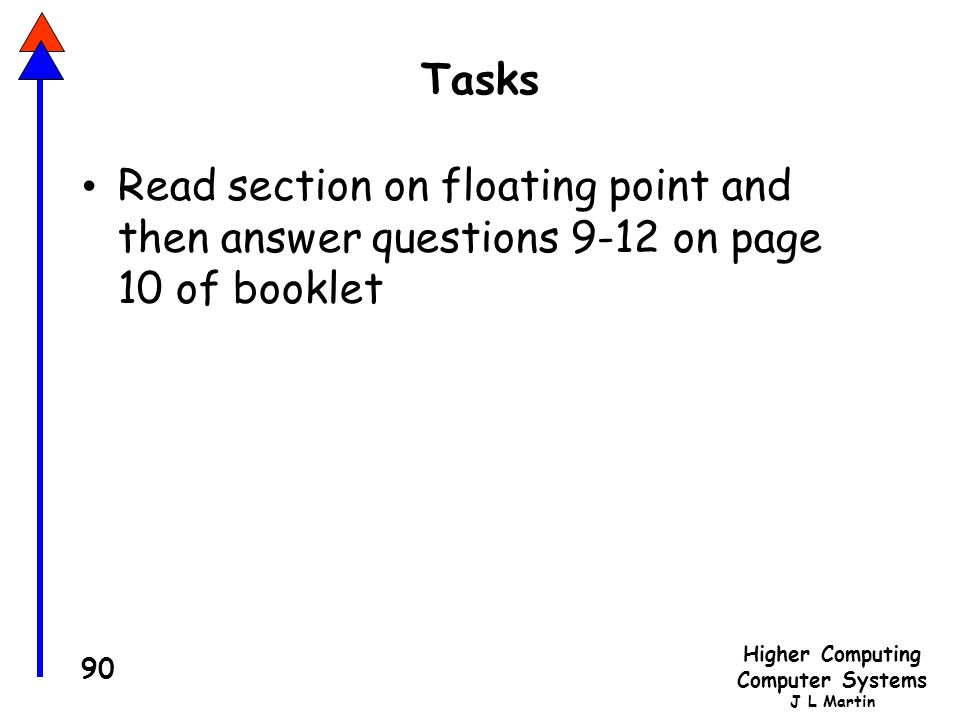 Tasks Read section on floating point and then answer questions 9-12 on page 10 of booklet