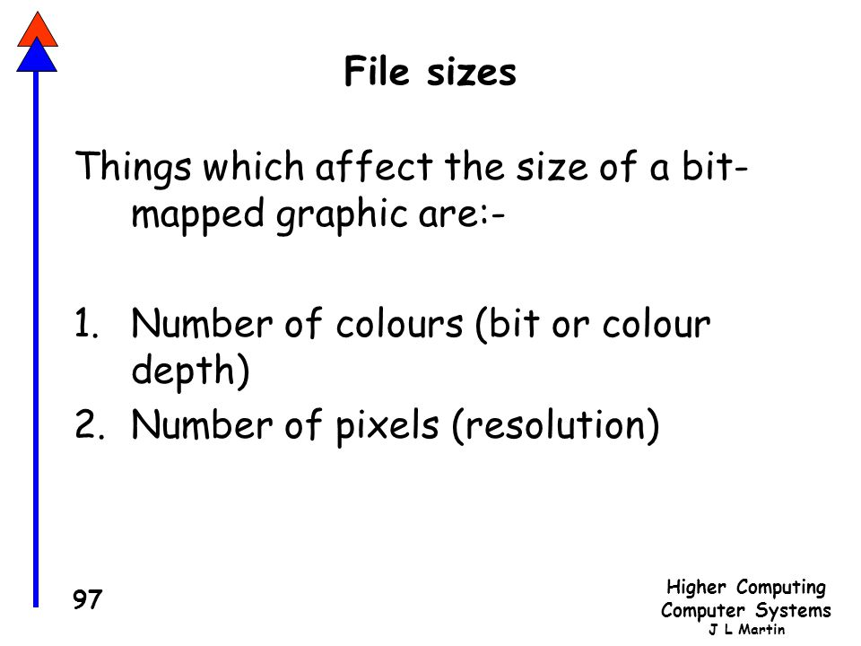 File sizes Things which affect the size of a bit- mapped graphic are:- Number of colours (bit or colour depth)