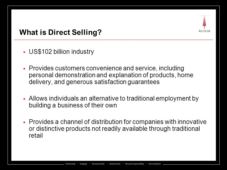 What is Direct Selling US$102 billion industry
