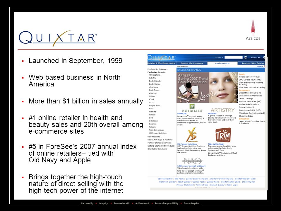 Quixtar Inc. Launched in September, 1999
