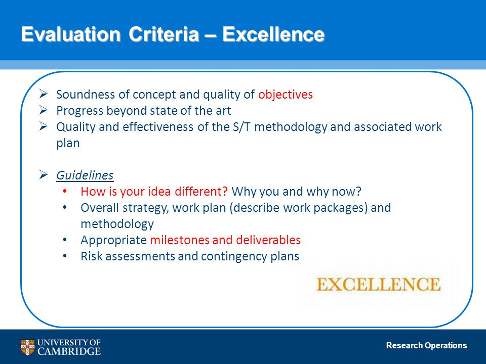 Evaluation Criteria – Excellence