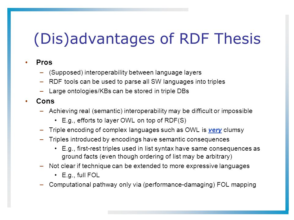 (Dis)advantages of RDF Thesis