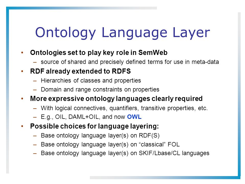 Ontology Language Layer