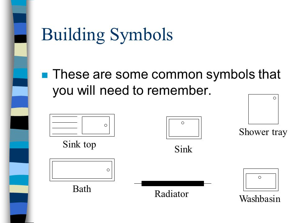 Building Symbols These are some common symbols that you will need to remember. Shower tray. Sink top.