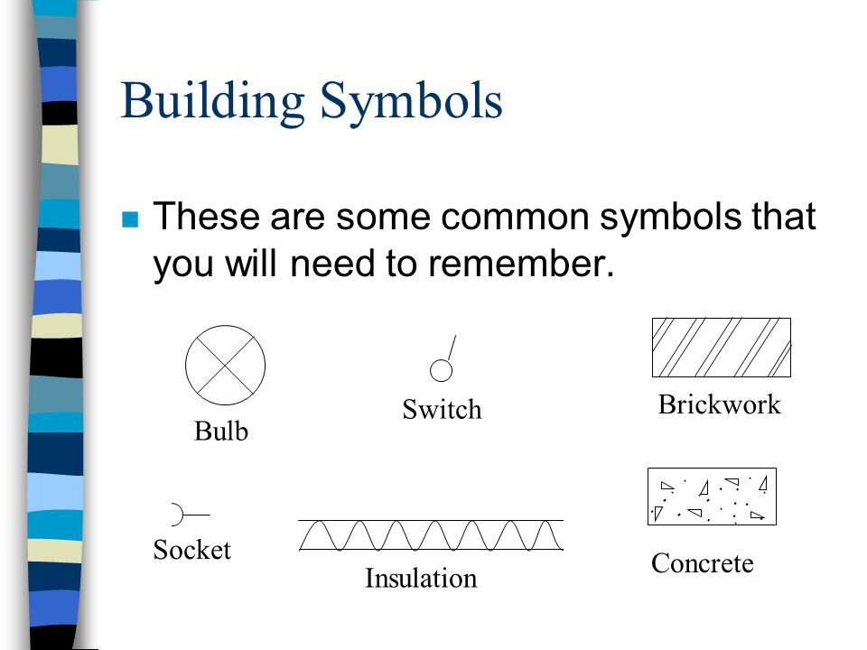 Building Symbols These are some common symbols that you will need to remember. Brickwork. Switch.