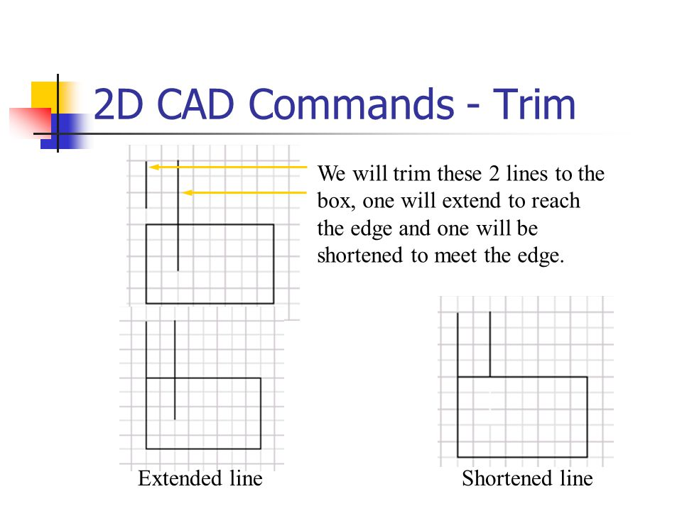 2D CAD Commands - Trim We will trim these 2 lines to the box, one will extend to reach the edge and one will be shortened to meet the edge.