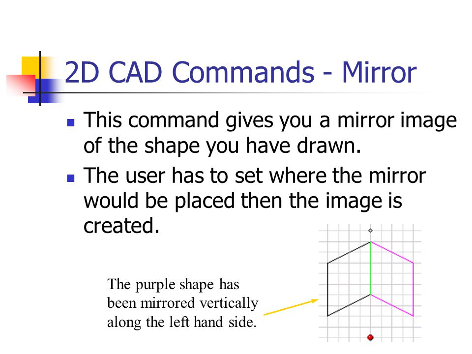 2D CAD Commands - Mirror This command gives you a mirror image of the shape you have drawn.