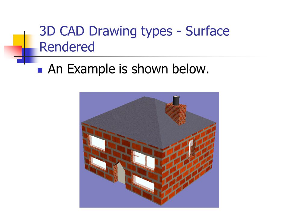 3D CAD Drawing types - Surface Rendered