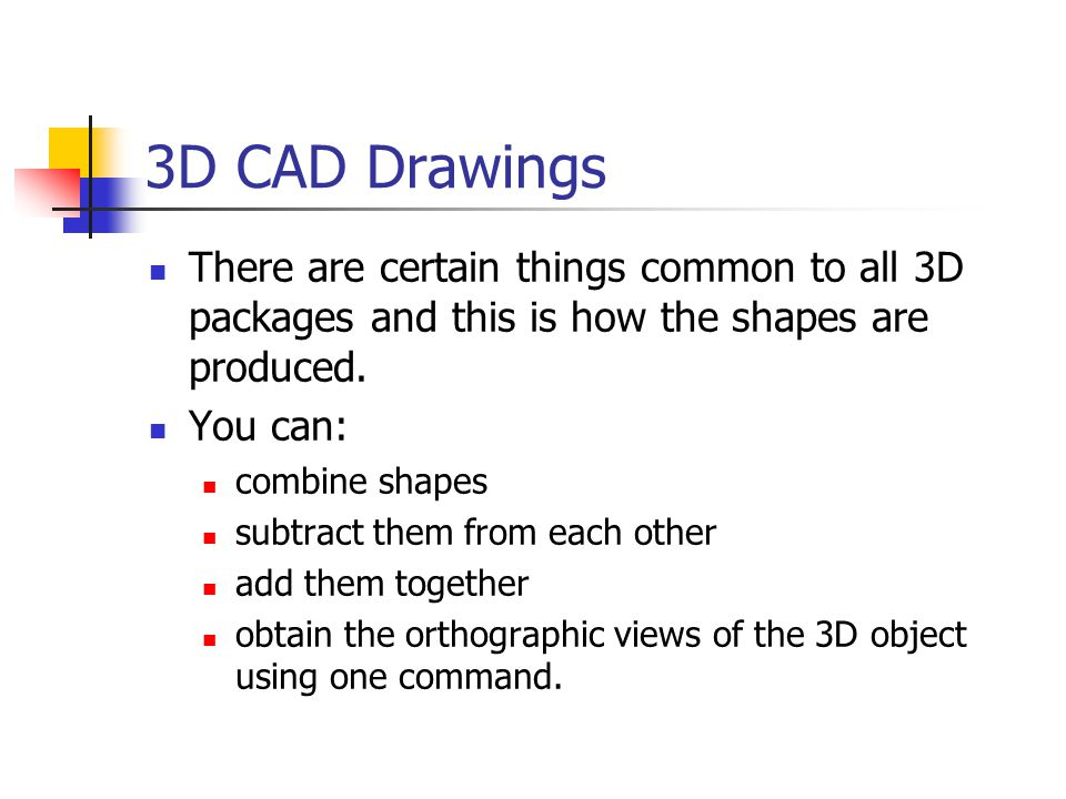 3D CAD Drawings There are certain things common to all 3D packages and this is how the shapes are produced.