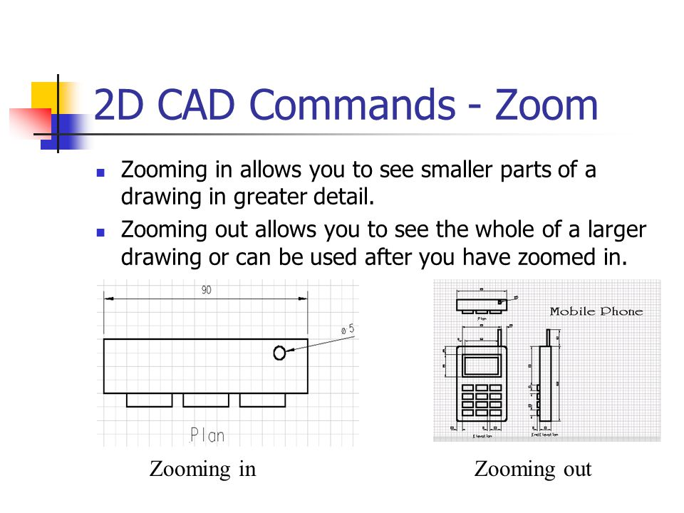 2D CAD Commands - Zoom Zooming in allows you to see smaller parts of a drawing in greater detail.